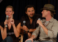 Actors Andee Frizzell, Steve Bacic and Corin Nemec entertain fans on stage.