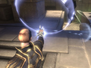Weapons in the game include the Goa'uld hand device.