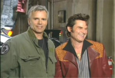The Two Jacks: Kurt Russell visits the set of SG-1 in 2001.