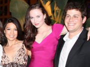 Blue poses with fellow castmates Ming-Na and Elyse Levesque at the SGU launch party in San Diego