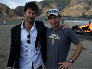 "Cooper with actor Joe Flanigan, at the New Mexico location shoot for ""Vegas."""