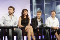 From left: Damian Kindler, Amanda Tapping, Robin Dunne, and Martin Wood at the TCA event in 2008.
