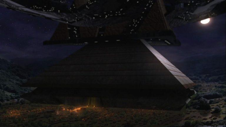 "Ha'tak landing on a pyramid (""Double Jeopardy"")"
