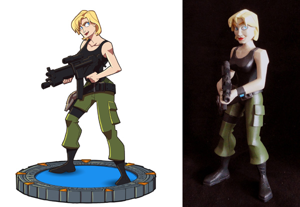 Sam Carter sketch and maquette (Quantum Mechanix)