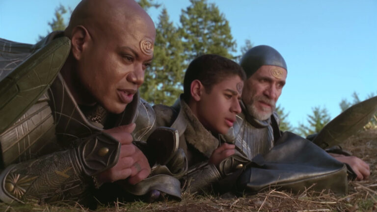 """Teal'c, Rya'c, and Bra'tac (""""Redemption, Part 2"""" Blu-ray Edition)"""